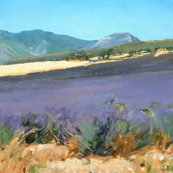 Lavender with Apricot Orchard